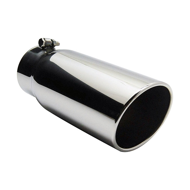 Jones Vented Stainless Steel Exhaust Tip, Rolled Slant, Bolt-On - 4