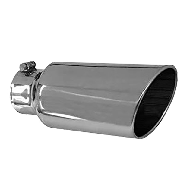 Jones Stainless Steel Exhaust Tip, Rolled Slant, Bolt-On - 4