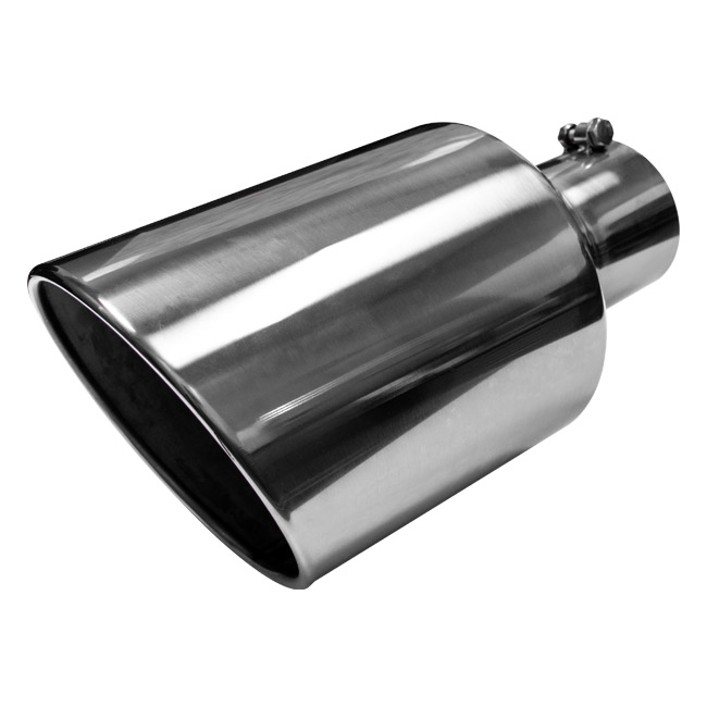 Jones Exhaust Tip, Stainless Steel, Rolled Slant, Bolt-On - 4