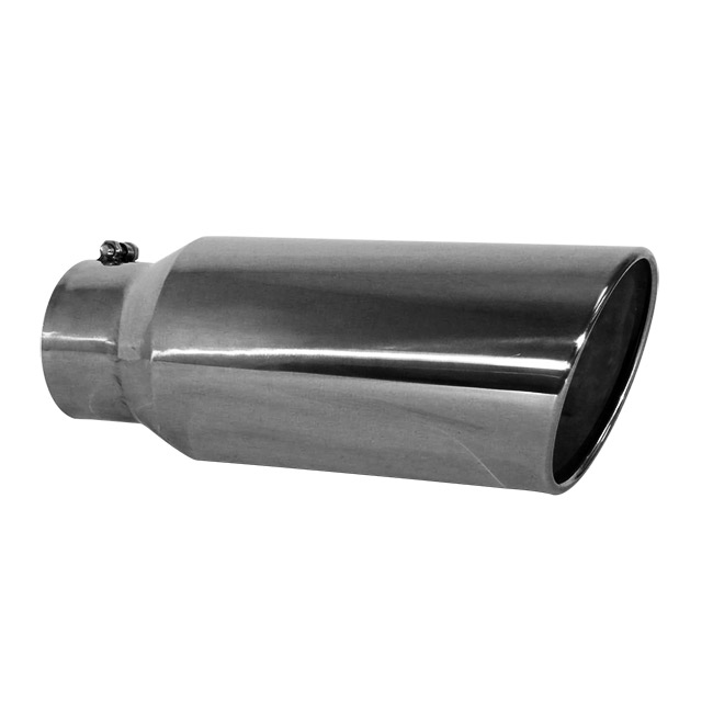 Jones Stainless Steel Exhaust Tip, Rolled Slant, Bolt-On - 5