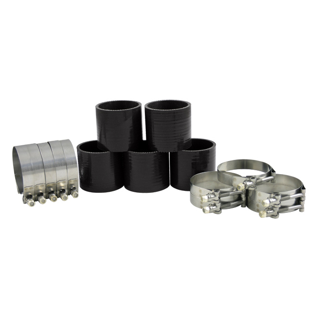 two Black 4 PLY Silicone Coupler Reducer 4ID to 3 ID with 2 pcs one T-Clamps